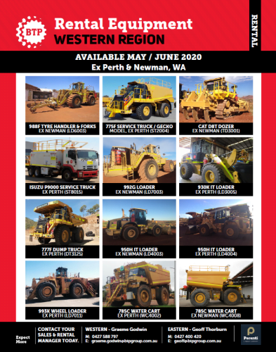 BTP Western Region - Rentals available May June 2020